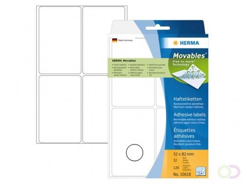 Herma 10618 Verwijderbare multipurpose-etiketten 52 x 82 mm, wit, om met de hand te beschrij